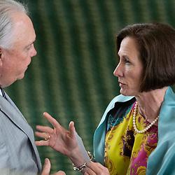 Texas Senate action on Tuesday, May 18, 2021 showing  Sen. Lois Kolkhorst, R-Brenham. talking with Rep. Drew Darby.