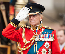 File photo dated 16/06/12 of The Duke of Edinburgh inspecting troops outside Buckingham Palace during the annual Trooping the Colour parade, in central London. Prince Philip's final public engagement takes place on Wednesday, before he retires at the age of 96.