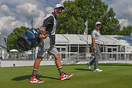 Paul Casey's (ENG) caddie, Johnny Long Socks Mclaren riled up the Akron, Ohio gallery as he wore socks depicting former Cleveland Cavalier star Lebron James socks today during 2nd round of the World Golf Championships - Bridgestone Invitational, at the Firestone Country Club, Akron, Ohio. 8/3/2018.<br />