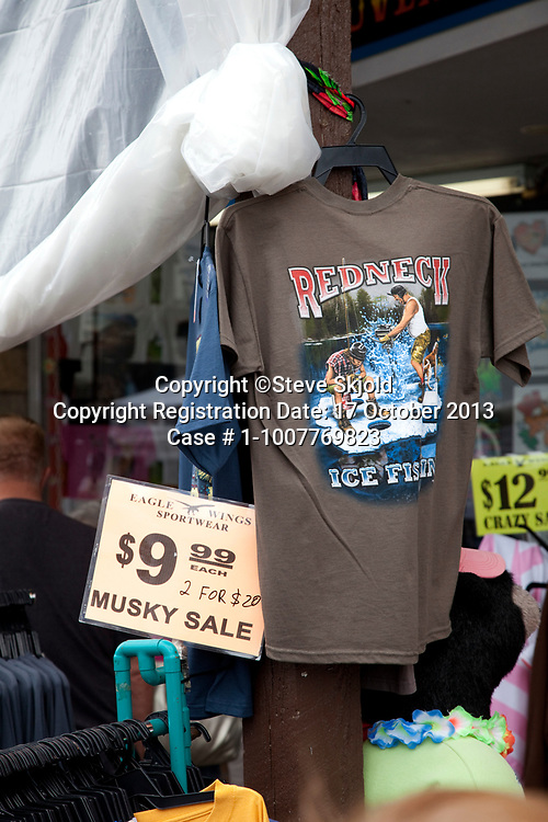Redneck t-shirt displayed at the 61st Annual Musky Festival. Hayward Wisconsin WI USA