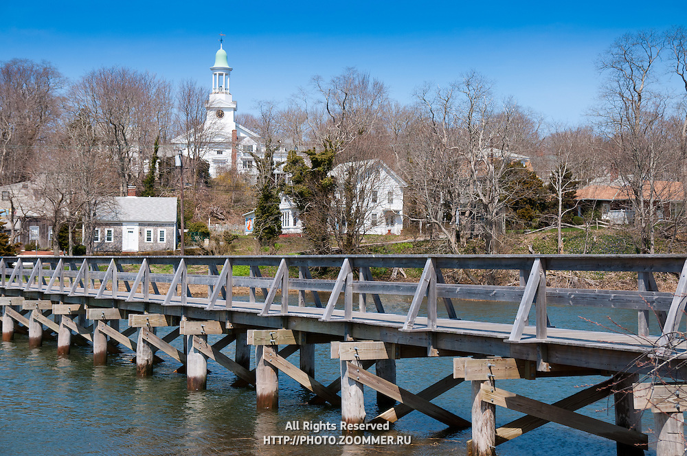 Uncle Tim's Bridge over inlet and First Congregational Church in Wellfleet, Cape Cod