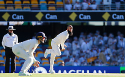 England's Moeen Ali bowls during day two of the Ashes Test match at The Gabba, Brisbane.