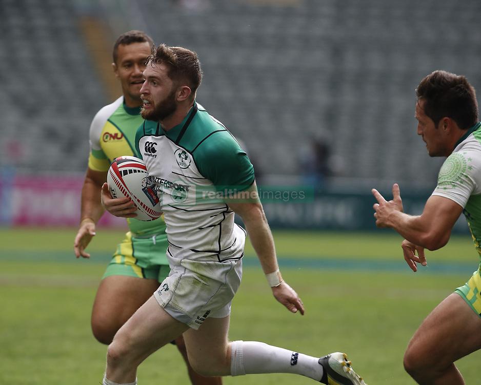 April 6, 2018 - Hong Kong, HONG KONG - Ian Fitzpatrick (2) of Ireland in action against the Cook Islands during the 2018 Hong Kong Rugby Sevens at Hong Kong Stadium in Hong Kong. (Credit Image: © David McIntyre via ZUMA Wire)