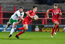 11th November 2018 , Racecourse Ground,  Wrexham, Wales ;  Rugby League World Cup Qualifier,Wales v Ireland ; Josh Ralph of Wales makes a break<br /> <br /> <br /> Credit:   Craig Thomas/Replay Images