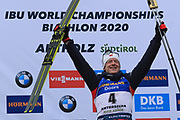 Johannes Thingnes Boe (NOR) poses after the Men 15 Km during the IBU Biathlon World Championships, Sunday, Feb. 23, 2020, in Antholtz-Anterselva, Italy. (Pierre Teyessot-ESPA-Images/Image of Sport)