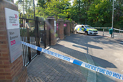 ©Licensed to London News Pictures 14/09/2020  <br /> Bromley, UK. Police tape around the college. A police car outside the main gate. Police have cordoned off Bromley College in Bromley, South East London after reports of a stabbing outside. credit:Grant Falvey/LNP