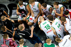 Bozidar Maljkovic coach of Slovenia with players during friendly basketball match between National teams of Slovenia and Montenegro of Adecco Ex-Yu Cup 2011 as part of exhibition games before European Championship Lithuania 2011, on August 7, 2011, in Arena Stozice, Ljubljana, Slovenia. Slovenia defeated Crna Gora 86-79. (Photo by Vid Ponikvar / Sportida)