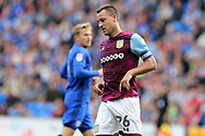 John Terry, the Aston Villa captain looks on dejected. .EFL Skybet championship match, Cardiff city v Aston Villa at the Cardiff City Stadium in Cardiff, South Wales on Saturday 12th August 2017.<br /> pic by Andrew Orchard, Andrew Orchard sports photography.