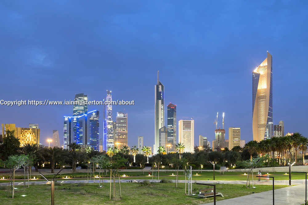 Skyline of Central Business District (CBD) from new Al Shaheed Park in  Kuwait City, Kuwait