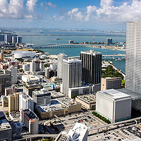 Aerial view northeast over the center core of downtown Miami, Florida.  American Airlines Arena is visible upper center left of image.