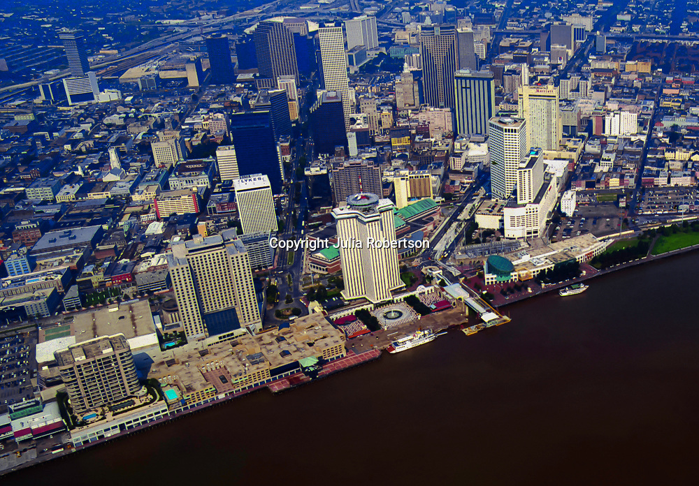 Aerial view of New Orleans waterfront before hurricane katrina