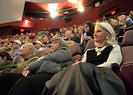 Garden City, New York, U.S. November 21, 2013. R front, NANCY RAMSEY, wife of NASA Astronaut Rusty Schweickart, 1969 Apollo 9 Lunar Module LM Pilot, is in audience during her husband's Legends of Air and Space lecture at Cradle of Aviation Museum on Long Island.
