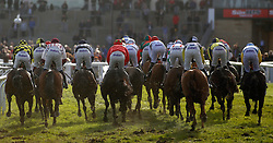Runners take an early bend in The Velcourt Conditional Jockeys' Handicap Hurdle Race run during day three of the November Meeting at Cheltenham Racecourse.