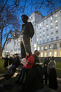 Protesters agains the visit by Saudi prince Bin Salman gather opposite Downing Street March 7th 2018 in London, United Kingdom. Young and old sit around the statue of Statue of the Viscount Montgomery. Many are angry at the Saudi involvement and continued bombing in Yemen with tens of thousands of civilian casualties and many more displaced by the war. (photo by Kristian Buus/In Pictures via Getty Images)