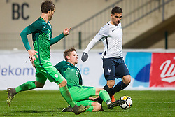 Matic Vrbanec of Slovenia and Samuel Grandsir of France during football match between Slovenia and France in Qualifying round for European Under-21 Championship 2019, on November 13, 2017 in Sportni park, Domzale, Slovenia.  Photo by Ziga Zupan / Sportida