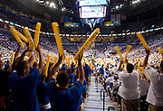 June 2, 2012; Oklahoma City, OK, USA; Oklahoma City Thunder fans cheer during the second half of a playoff game against the San Antonio Spurs at Chesapeake Energy Arena.  Thunder defeated the Spurs 109-103 Mandatory Credit: Beth Hall-US PRESSWIRE