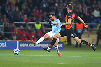 KHARKOV, UKRAINE - OCTOBER 23: Riyad Mahrez of Manchester City shoots under pressure from Serhiy Kryvtsov of Shakhtar Donetsk during the Group F match of the UEFA Champions League between FC Shakhtar Donetsk and Manchester City at Metalist Stadium on October 23, 2018 in Kharkov, Ukraine. (Photo by MB Media/Getty Images)