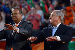20150705 NED: WK Beachvolleybal day 10, Den Haag<br /> Ceremonie FIVB President Dr. Ary S. Graca, Wethouder Rabin Baldewsingh van Den Haag