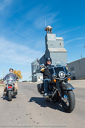 Editor Matt King riding a 2018 Harley-Davidson Heritage Classic with it's Milwaukee-8 engine in the new Softail frame with Matt Olsen of Carl's Cycle on his 1949 Harley-Davidson EL Panhead for a feature in Hog Magazine. Aberdeen, SD. USA. Sunday October 8, 2017. Photography ©2017 Michael Lichter.