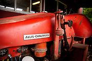 Red-Orange farm tractor.