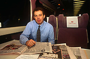 Leader of the Opposition and future Prime Minister, the Rt. Hon. Tony Blair MP, sits reading newspapers whilst on a train en-route to an evening Labour Party rally in Nottingham, 2 years before his victory in the 1997 General Election, on 2nd February 1995 in London UK. Then, he could travel in relative obscurity, without large security details. Anthony Charles Lynton Tony Blair born 6 May 1953 is a British politician who served as the Prime Minister of the United Kingdom from 1997 to 2007 and the Leader of the Labour Party from 1994 to 2007.