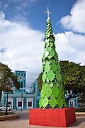 Christmas tree decoration in the Isabel Segunda town square on Vieques Island, Puerto Rico.