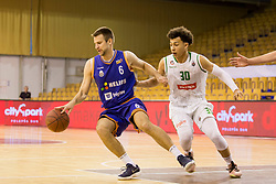 Matej Rojc of KK Helios Suns and Yusuf Sanon of KK Petrol Olimpija Ljubljana during basketball match between KK Petrol Olimpija and KK Helios Suns in Playoffs of Liga Nova KBM 2017/18, on April 25, 2018 in Tivoli sports hall, Ljubljana, Slovenia. Photo by Urban Urbanc / Sportida