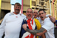 a Group of both England and Australian fans chanting outside Twickenham Stadium before k/o. Rugby World Cup 2015 pool A match, England v Australia at Twickenham Stadium in London, England  on Saturday 3rd October 2015.<br /> pic by  John Patrick Fletcher, Andrew Orchard sports photography.