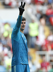MOSCOW, June 23, 2018  Goalkeeper Thibaut Courtois of Belgium reacts during the 2018 FIFA World Cup Group G match between Belgium and Tunisia in Moscow, Russia, June 23, 2018. (Credit Image: © Cao Can/Xinhua via ZUMA Wire)