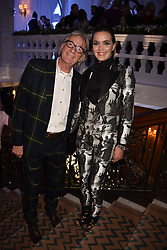 Sir Paul Smith and Victoria Pendleton at reception to celebrate the launch of the Claridge's Christmas Tree 2017 at Claridge's Hotel, Brook Street, London England. 28 November 2017.<br /> Photo by Dominic O'Neill/SilverHub 0203 174 1069 sales@silverhubmedia.com