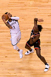 February 11, 2019 - Toronto, Ontario, Canada - D'Angelo Russell #1 of the Brooklyn Nets dunks over during the Toronto Raptors vs Brooklyn Nets NBA regular season game at Scotiabank Arena on February 11, 2019, in Toronto, Canada (Toronto Raptors win 127-125) (Credit Image: © Anatoliy Cherkasov/NurPhoto via ZUMA Press)