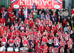 Krimovci, Fans of Krim at EHF Champions league handball match in Group II between RK Krim Mercator and Gyori Audi Eto KC, on February 7, 2009, in Kodeljevo, Ljubljana, Slovenia. Gyori won 35:31. (Photo by Vid Ponikvar / Sportida)