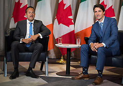 Prime Minister Justin Trudeau, right, looks on as Irish Taoiseach Leo Varadkar speaks during a bilateral meeting in Montreal, Canada, on Sunday, August 20, 2017. Photo by Graham Hughes/CP/ABACAPRESS.COM    603762_004 Montreal Canada