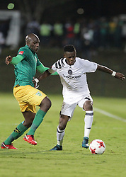 17032018 (Durban) Maela Innocent of pirates and Musa Bilankulu of Arrows tacke when Orlando Pirates walloped Golden Arrows 2-1 at the ABSA premier league encounter at Princess Magogo Staduim, in Kwa-Mashu, Durban. Pirates has advance their league position to number 2 with 41 points after Sundowns with 42 points lead.<br /> Picture: Motshwari Mofokeng/African New Agency/ANA