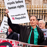 LONDON, UK - 18th May 2012: Human rights activist Peter Tatchell joins the protesters in front of Buckingham Palace denouncing the presence of the King of Bahrain and other country leaders in visit at Buckingham Palace for the Queen's Jubilee.