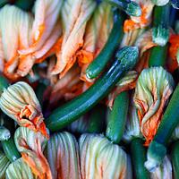 USA, California, Los Angeles. Locally grown orgainc squash blossoms at the Hollywood Farmer's Market.