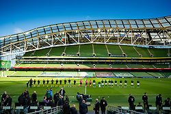 DUBLIN, REPUBLIC OF IRELAND - Sunday, October 11, 2020: Wales and Republic of Ireland players line-up before the UEFA Nations League Group Stage League B Group 4 match between Republic of Ireland and Wales at the Aviva Stadium. The game ended in a 0-0 draw. (Pic by David Rawcliffe/Propaganda)