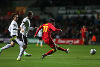 Pictured: Gareth Bale of Wales (R) scoring his opening goal. Wednesday 06 February 2013..Re: Vauxhall International Friendly, Wales v Austria at the Liberty Stadium, Swansea, south Wales.