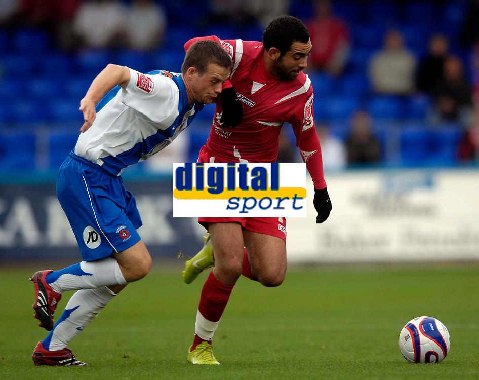 Photo: Jed Wee/Sportsbeat Images.<br /> Hartlepool United v Swindon Town. Coca Cola League 1. 15/09/2007.<br /> <br /> Swindon's Sofian Zaboub (R) takes on Hartlepool's Jamie McCunnie.