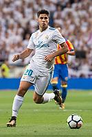 Real Madrid's Marco Asensio during La Liga match between Real Madrid and Valencia CF at Santiago Bernabeu Stadium in Madrid, Spain August 27, 2017. (ALTERPHOTOS/Borja B.Hojas)