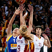 Lotos Gdynia's Ines AJANOVIC (L) during their woman Euroleague group A matchday 5 Galatasaray between Lotos Gdynia at the Abdi Ipekci Arena in Istanbul at Turkey on Wednesday, November 09 2011. Photo by TURKPIX