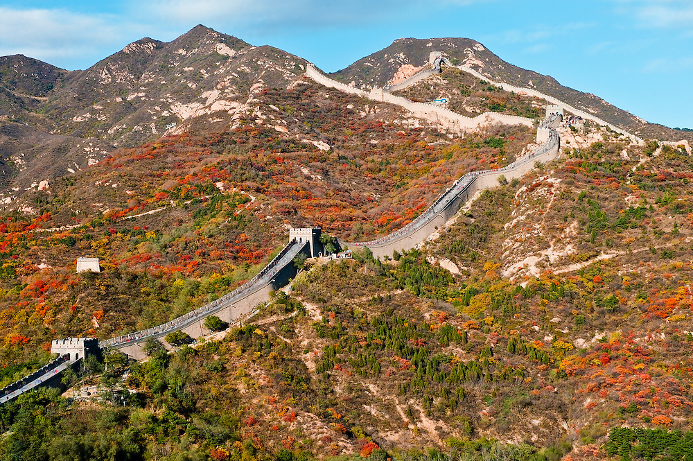 Stock photograph of the Great Wall of China at Badaling north of Beijing showing the river of tourists that walk the Wall each day