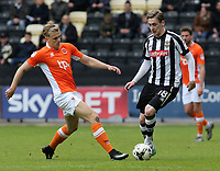 Notts County's Elliott Hewitt is chased down by Blackpool's Brad Potts<br /> <br /> Photographer David Shipman/CameraSport<br /> <br /> The EFL Sky Bet League Two - Notts County v Blackpool - Saturday 29th April 2017 - Meadow Lane - Nottingham<br /> <br /> World Copyright © 2017 CameraSport. All rights reserved. 43 Linden Ave. Countesthorpe. Leicester. England. LE8 5PG - Tel: +44 (0) 116 277 4147 - admin@camerasport.com - www.camerasport.com