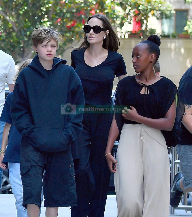 Angelina Jolie takes her kids to a movie in Los Angeles, Shiloh, Zahara, Knox and Vivienne joined Angelina to watch Christopher Robin at a movie theater in Westwood. 18 Aug 2018 Pictured: Angelina Jolie, Shiloh Jolie-Pitt, Knox Jolie-Pitt, Zahara Jolie-Pitt, Vivienne Jolie-Pitt. Photo credit: Snorlax / MEGA TheMegaAgency.com +1 888 505 6342