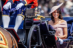 Meghan Duchess of Sussex Princess Meghan Markle and Prince Harry British Royal Family at Trooping the Colour Queen Elizabeth, The Prince of Wales Charles, The Duchess of Cornwall Camilla, The Duke and Duchess of Cambridge, Prince George, Princess Charlotte , Prince Andrew and Princess Anne in London, United Kingdom, trooping the colour , The annual trooping the color is to honor the Queens official birthday. London, UK, on June 09, 2018. Photo by Robin Utrecht/ABACAPRESS.COM