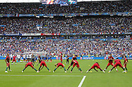 Portugal players in warm up execise during the Euro 2016 final between Portugal and France at Stade de France, Saint-Denis, Paris, France on 10 July 2016. Photo by Phil Duncan.