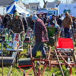 Gordonville, PA, USA - March 10, 2012: Yard tools to be sold at a mud sale.