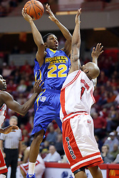 06 December 2008: Demonte Harper elevates over Emmanuel Holloway for a shot during a game where the  Illinois State University Redbirds extended their record to 9-0 with a 76-70 win over the Eagles of Morehead State on Doug Collins Court inside Redbird Arena on the campus of Illinois State University in Normal Illinois