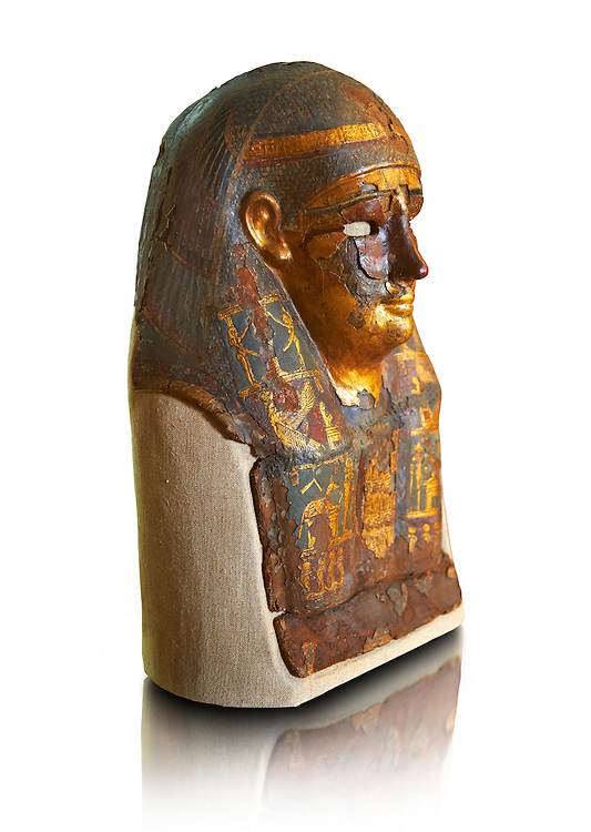 Ushabti. Ptolemaic Dynasty  Egyptian textile & gold mummy mask depicting various gods, 306-30 BC. Neues Reiche Museum, Berlin. Cat No AM813 .<br /> <br /> If you prefer to buy from our ALAMY PHOTO LIBRARY  Collection visit : https://www.alamy.com/portfolio/paul-williams-funkystock/ancient-egyptian-art-artefacts.html  . Type -   Neues    - into the LOWER SEARCH WITHIN GALLERY box. Refine search by adding background colour, subject etc<br /> <br /> Visit our ANCIENT WORLD PHOTO COLLECTIONS for more photos to download or buy as wall art prints https://funkystock.photoshelter.com/gallery-collection/Ancient-World-Art-Antiquities-Historic-Sites-Pictures-Images-of/C00006u26yqSkDOM