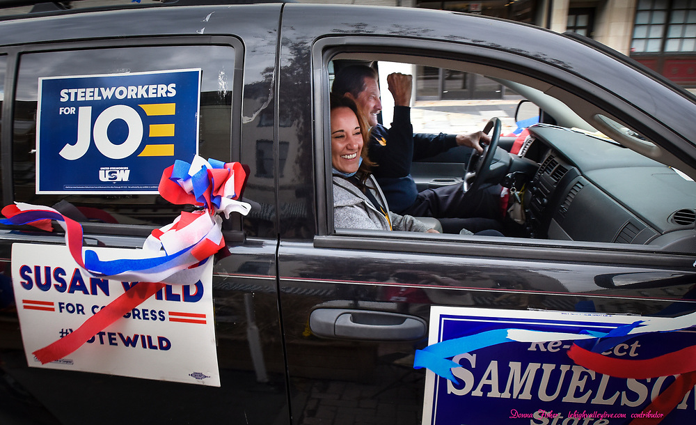 A Riding 4 Biden caravan of cars moves north on Main Street Sunday, Oct. 25, 2020 in Bethlehem in support of the Biden-Harris ticket. It is organized by Jerry Green, president of the U.S. Steelworkers of America Local 2599 and starts at the union's Van Bittner Hall.